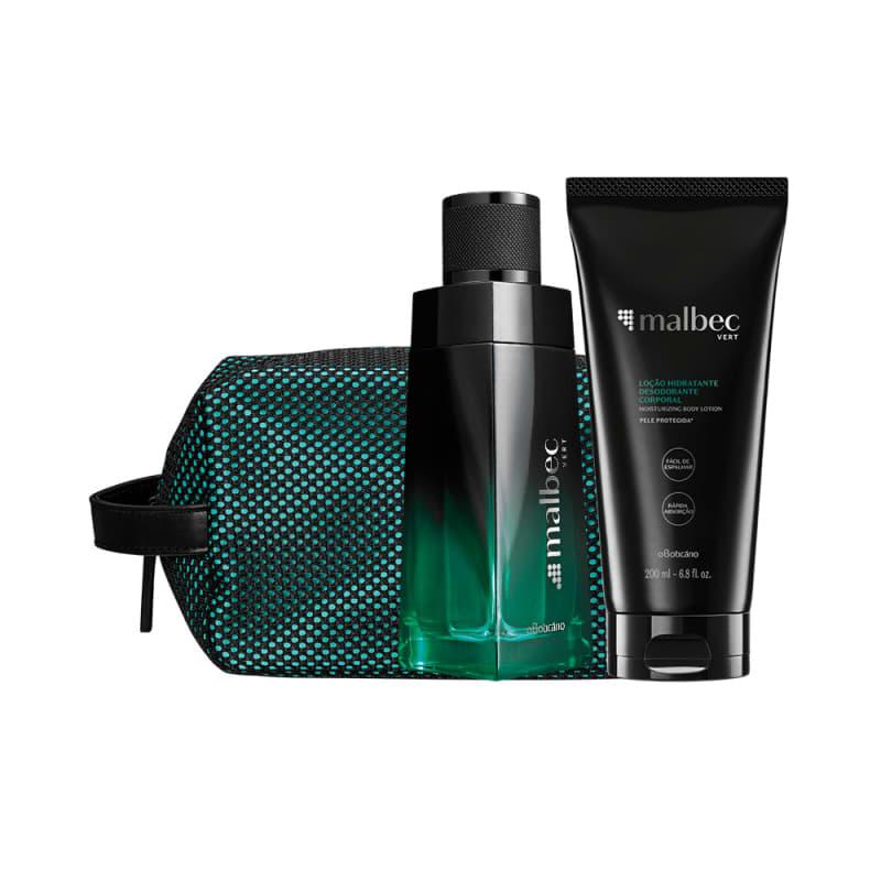 Combo Malbec Vert: Desodorante Colônia 100ml + Loção Hidratante Desodorante 200ml + Nécessaire