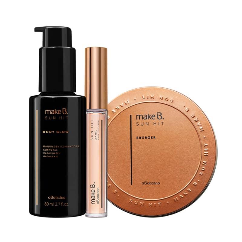Combo Make B. Sun Hit: Bronzer Medium Tan, 28G + Lip Oil, 3,7Ml + Body Glow Gold, 80Ml