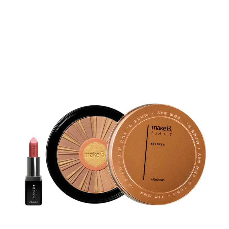 Combo Make B.: Batom Hidratante Rose, 3,6g + Bronzer Medium Tan Sun Hit, 28g