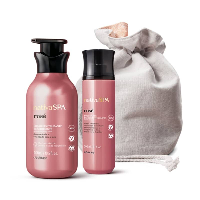 Combo Nativa Spa Rosé: Loção Revitalizante Corporal, 400 ml + Body Splash, 200 ml + Or ganizador Em Al godão