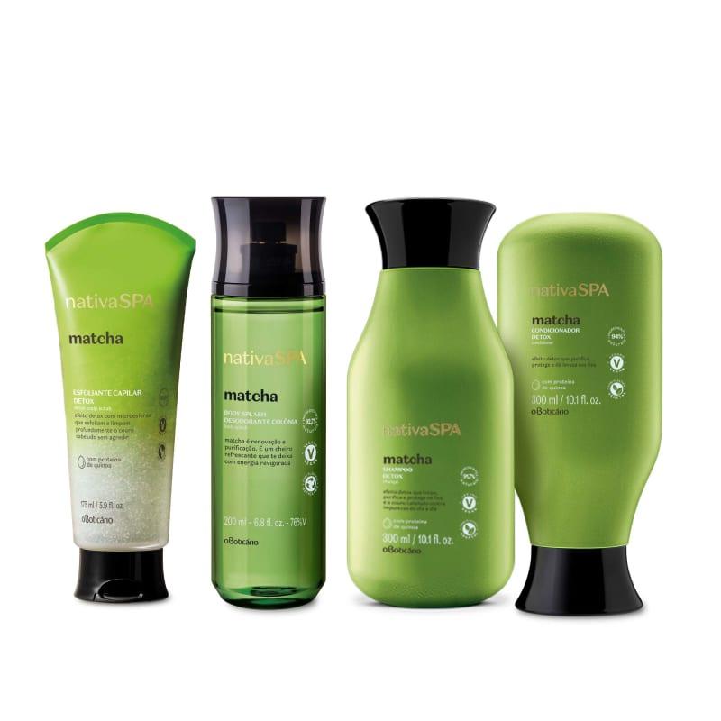 Combo Nativa Spa Matcha: Shampoo, 300Ml + Condicionador, 300Ml + Esfoliante Capilar, 175Ml + Body Splash, 200Ml