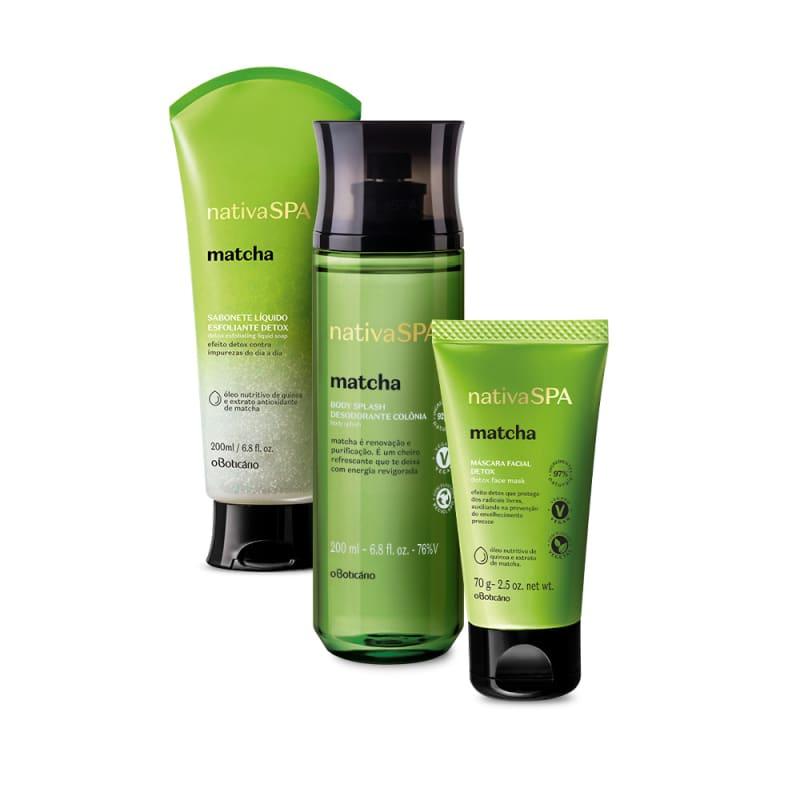 Combo Nativa Spa Matcha: Sabonete Líquido Esfoliante, 200Ml + Máscara Facial, 70G + Body Splash, 200Ml