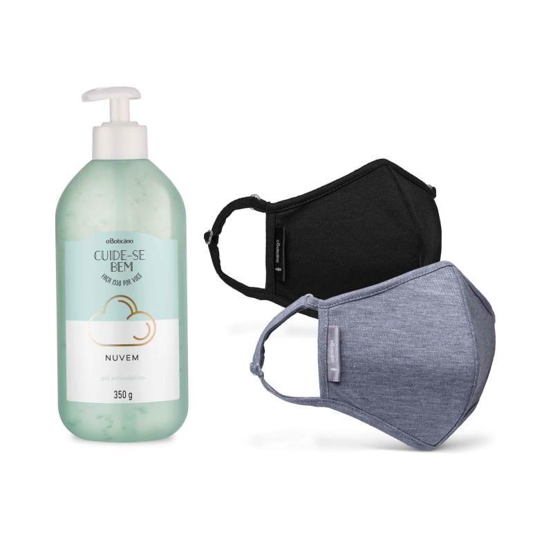 Combo Proteção: Álcool Em Gel Nuvem, 350G +  Máscara Preta + Máscara Cinza Mescla