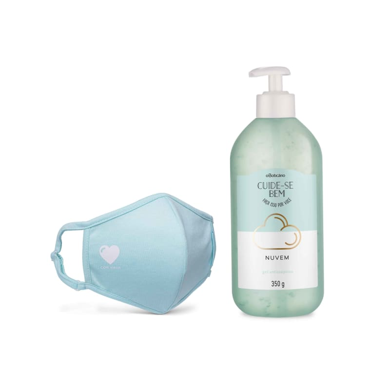 Combo Proteção: Álcool Em Gel Nuvem, 350G + Máscara Estampada