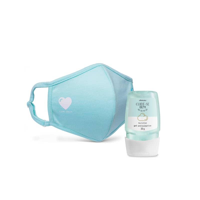 Combo Proteção: Álcool Em Gel Nuvem, 30G + Máscara Estampada
