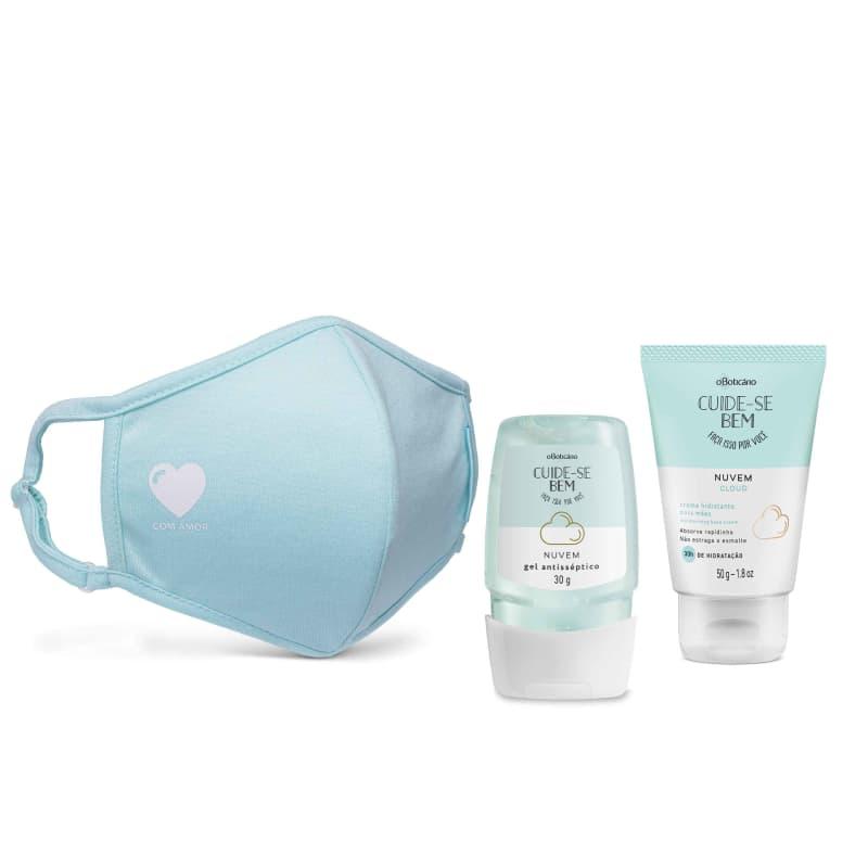 Combo Proteção: Álcool Em Gel Nuvem, 30G + Creme Para Mãos, 50G + Máscara Estampada