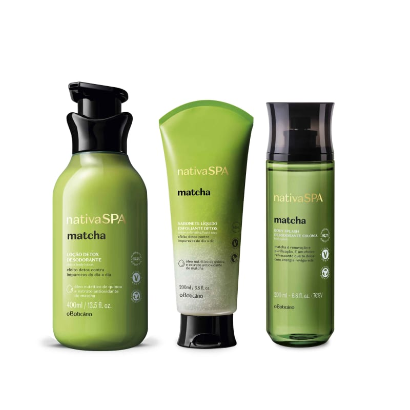 Combo Nativa Spa Matcha: Sabonete Líquido Esfoliante, 200Ml + Loção Hidratante, 400Ml + Body Splash, 200Ml