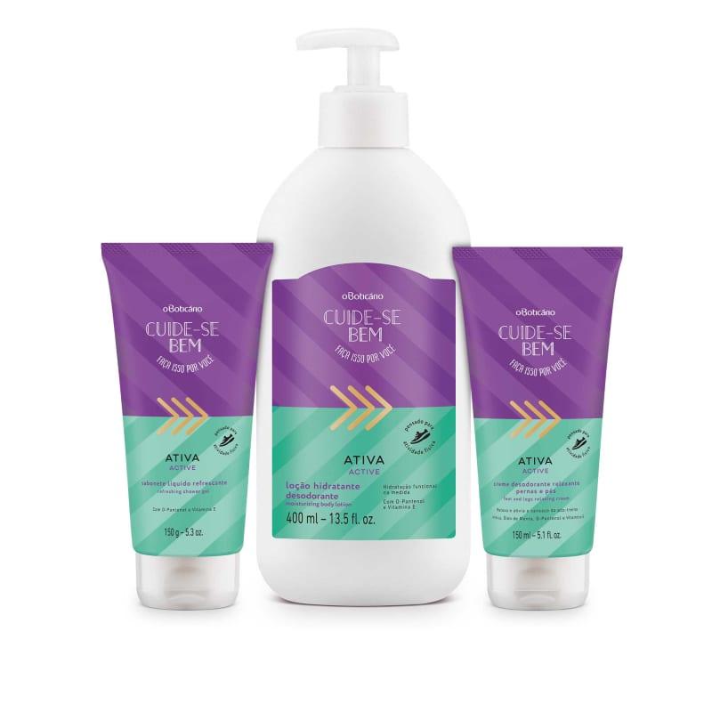 Combo Cuide-se Bem Ativa Loção Desodorante Hidratante 400ml + Sabonete Líquido 150g + Creme Relaxante 150ml