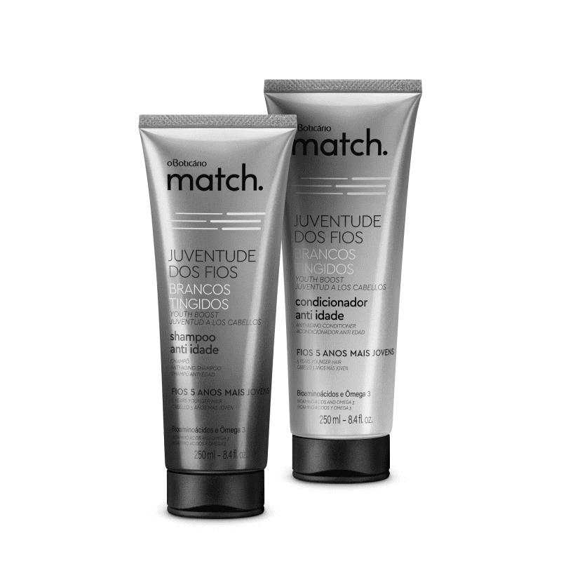 Combo Match Juventude dos Fios Anti-Idade Brancos Tingidos: Shampoo 250ml + Condicionador 250ml