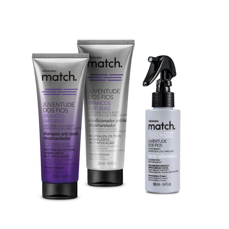 Combo Match Juventude dos Fios Brancos Naturais: Shampoo Desamarelador 250ml + Condicionador Desamarelador 250ml + Spray Volumador 100ml