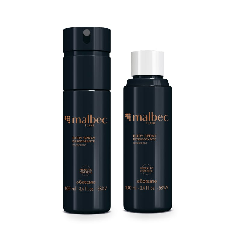 Combo Malbec Flame: Body Spray 100ml + Refil Body Spray 100ml