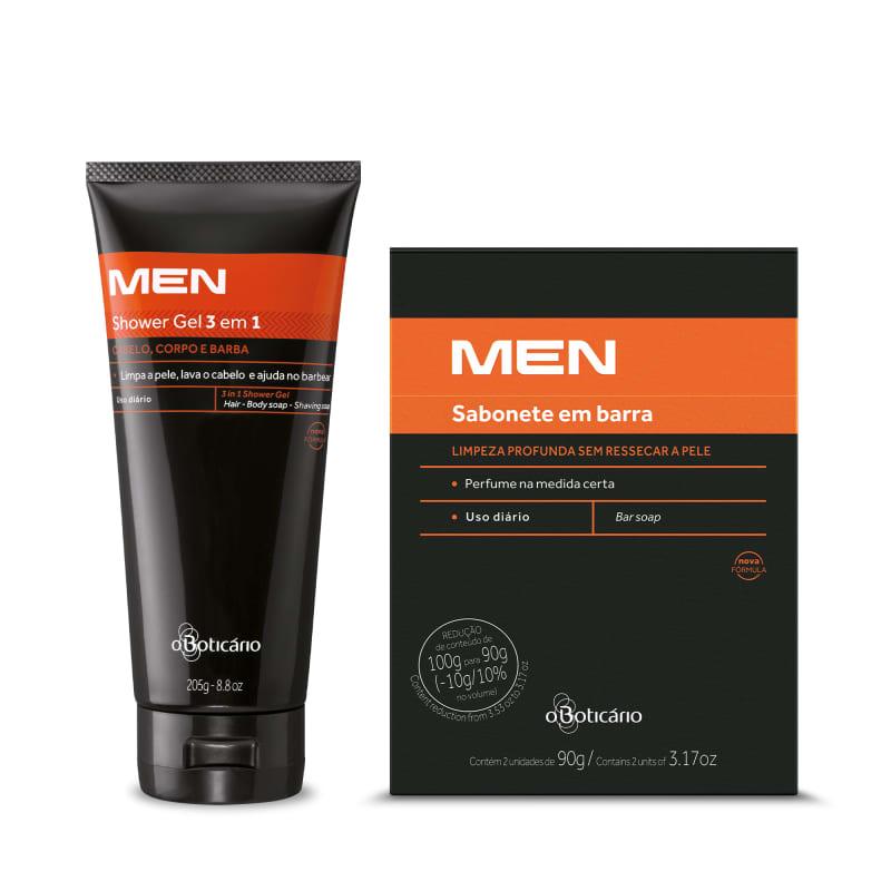 Combo MEN: Shower Gel 3 em 1 205g + Sabonetes em Barra (2 unidades de 90g)