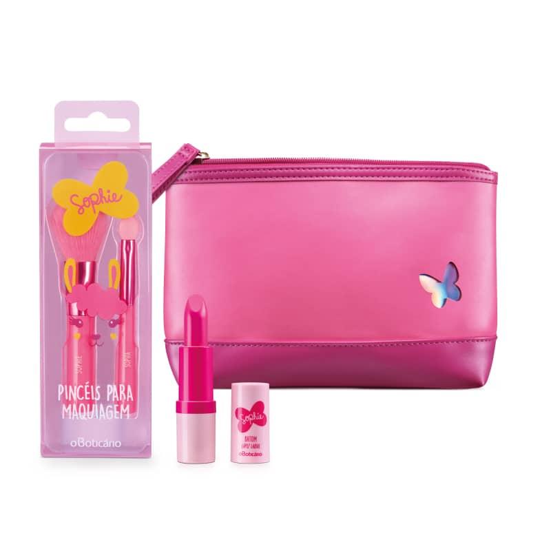 Combo Sophie: Batom Rosa Pink 3,3g + Necessaire + Conjunto de Pinceis