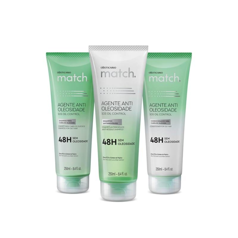 Combo Match Agente Antioleosidade: Shampoo 250ml + Shampoo Antirresiduos 250ml + Condicionador 250ml