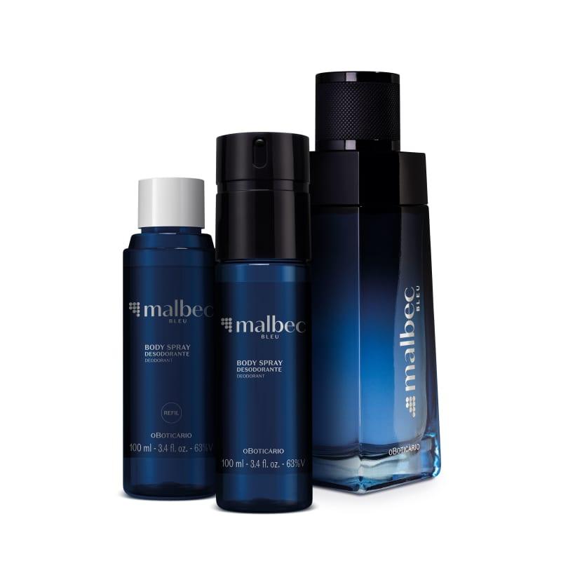 Combo Malbec Bleu: Desodorante Colônia 100ml + Body Spray 100ml + Refil 100ml