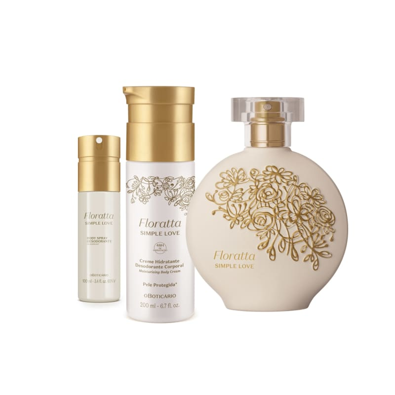 Combo Floratta Simple Love: Desodorante Colônia 75ml + Body Spray 100ml + Loção Hidratante Desodorante 200ml