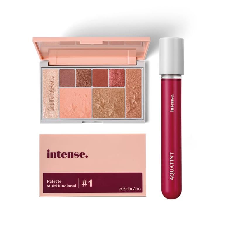 Combo Presente Dia dos Namorados Intense: Palette Multifuncional #1 Rose + Batom Líquido Aquatint Rosa