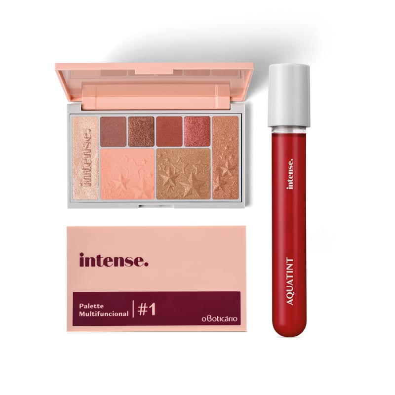Combo Presente Dia dos Namorados Intense: Palette Multifuncional #1 Rose + Batom Líquido Aquatint Vermelho