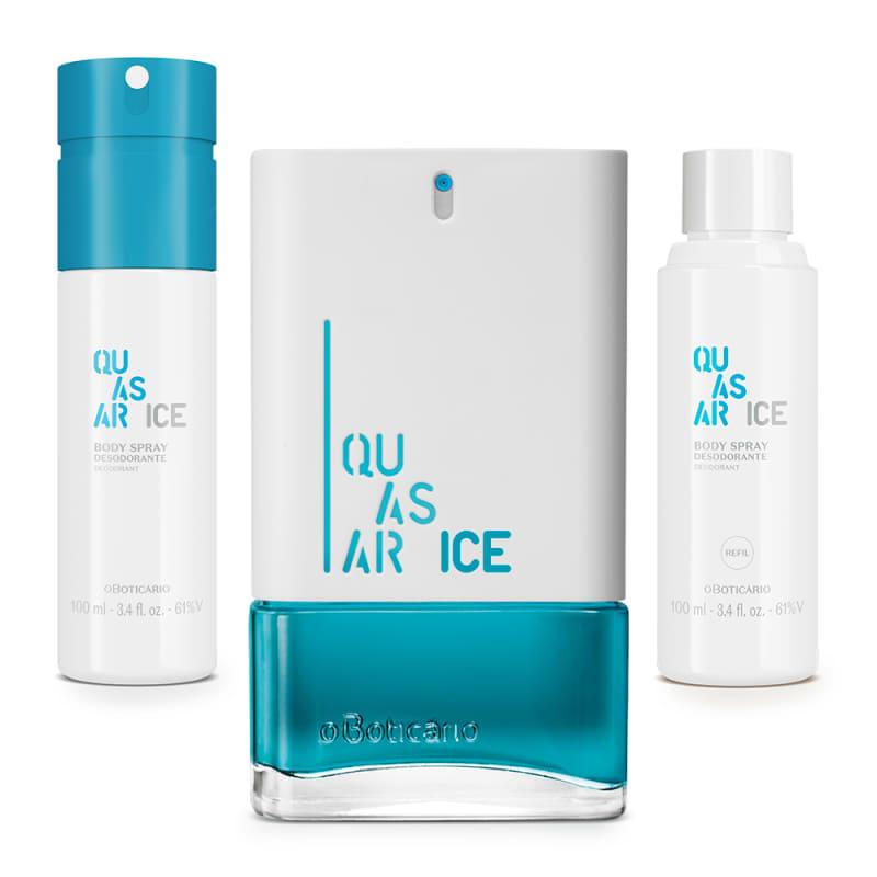 Combo Quasar Ice: Desodorante Colônia 100ml + Body Spray 100ml + Refil Body Spray 100ml