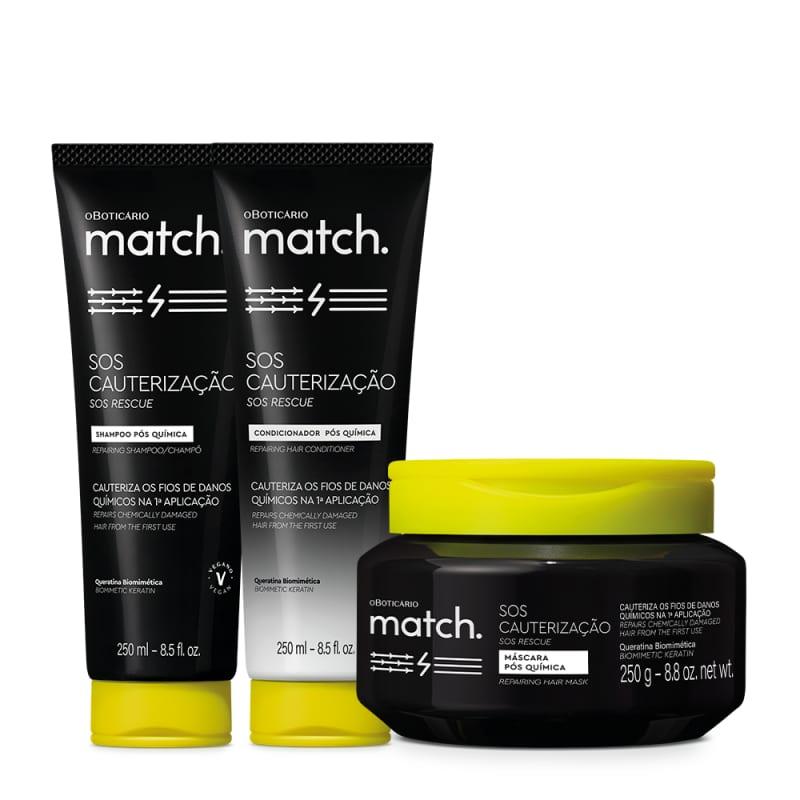 Combo Match SOS Cauterização Pós- Química: Shampoo 250ml + Condicionador 250ml + Máscara Capilar 250g