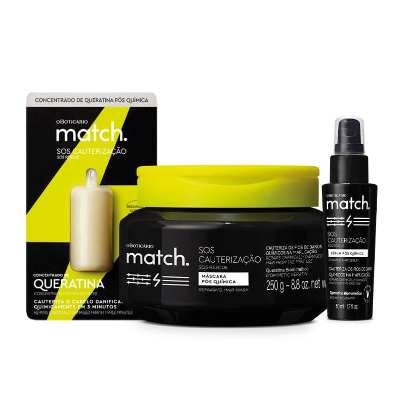 Combo Match SOS Cauterização Pós-Química: Máscara Capilar 250g + Sérum Capilar 50ml + Concentrado de Queratina 15ml