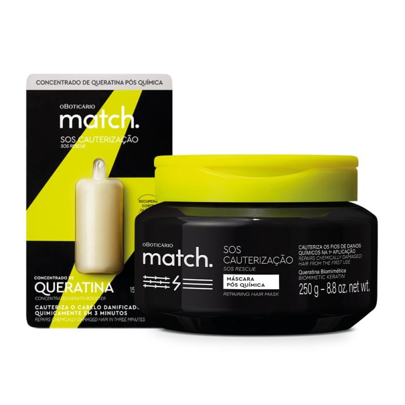 Combo Match SOS Cauterização Pós-Química: Máscara Capilar 250g + Concentrado de Queratina 15ml