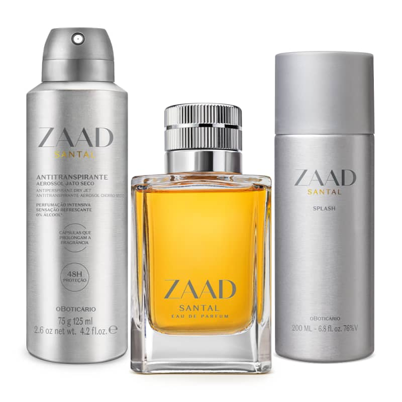 Combo Zaada Santal: Eau de Parfum 95ml + Splash 200ml + Antitranspirante 75g