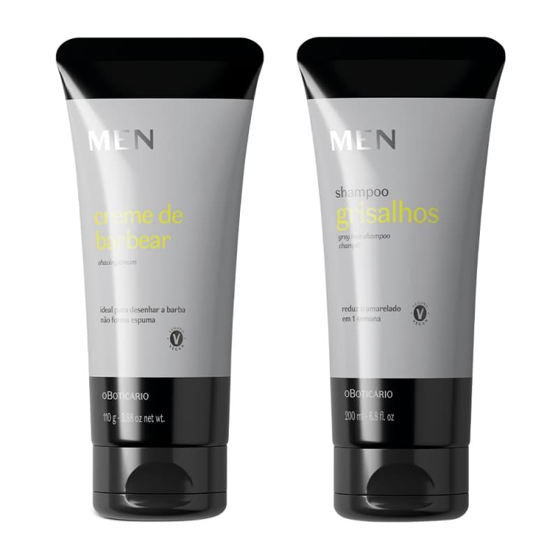 Combo Presente Dia dos Pais MEN: Shampoo para Cabelos Grisalhos 200ml + Creme de Barbear 110g