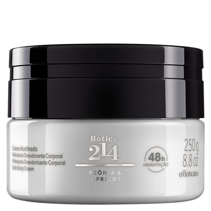 Creme Acetinado Desodorante Hidratante Corporal Botica 214 Peônia & Apricot, 250g