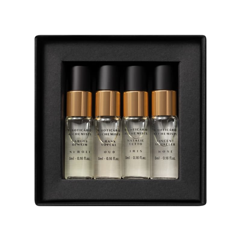 Kit Alchemists Eau de Parfum: Neroli 5ml + Rose 5ml + Íris 5ml + Oud 5ml