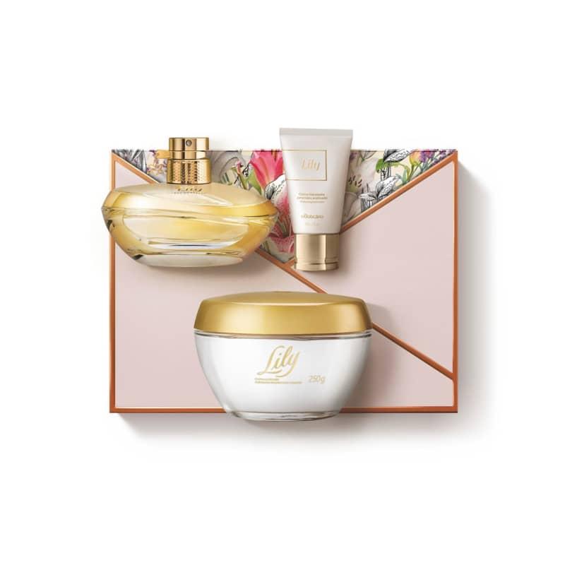 Kit Presente Lily: Eau de Parfum Válvula 75ml + Creme Acetinado Hidratante Desodorante 250g + Creme para Mãos 50g
