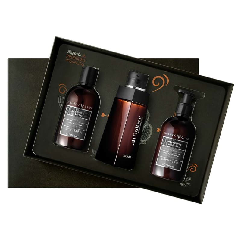 Kit Presente Malbec Club Intenso:  Desodorante Colônia 100ml + Sabonete Líquido 250ml + Loção Hidratante Desodorante 250ml