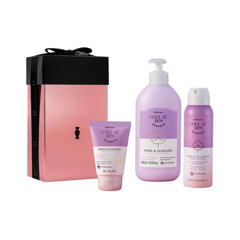 Kit Presente Cuide-Se Bem Rosa e Algodão: Loção Hidratante Desodorante 400ml + Creme para Mãos 50g + Antitranspirante Aerossol 75g