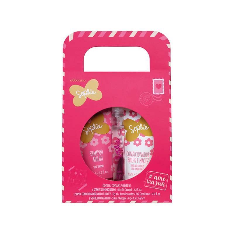 Kit Sophie #AMOVIAJAR Miniaturas: Shampoo 65ml + Condicionador 65ml + Colônia Hello 10ml