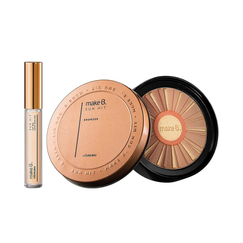 Combo Make B.: Gloss Lip Oil Sun Hit + Pó Facial Bronzer