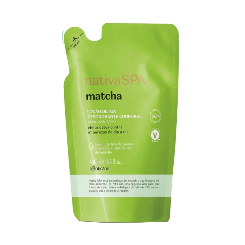 Refil Loção Detox Desodorante Corporal Nativa Spa Matcha 400ml