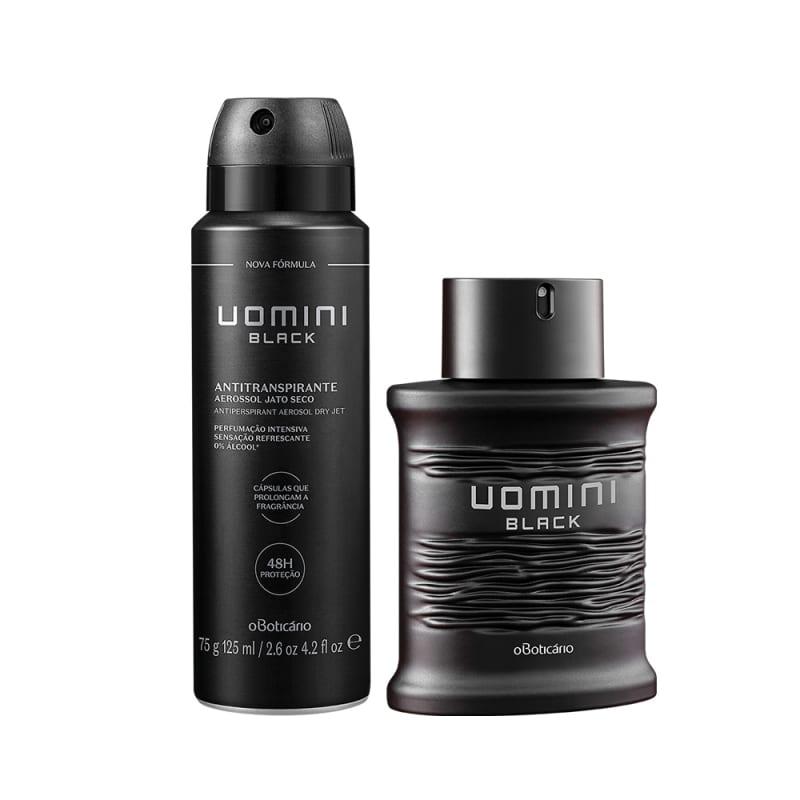 Combo Uomini Black: Desodorante Colônia, 100Ml + Desodorante Anti Transpirante, 75G