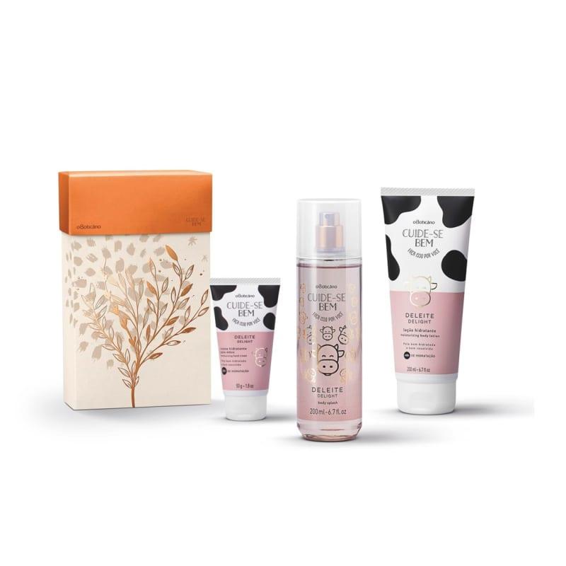 Kit Presente Cuide-se Bem Deleite: Loção Desodorante Hidratante 200ml + Body Splash 200ml + Creme para Mãos 50g