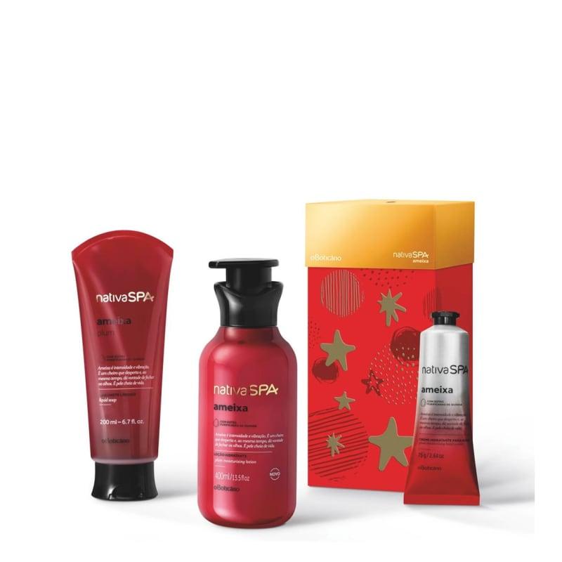 Kit Presente Nativa Spa Ameixa: Loção Desodorante Hidratante 400ml + Sabonete Líquido 200ml + Creme para Mãos 75g