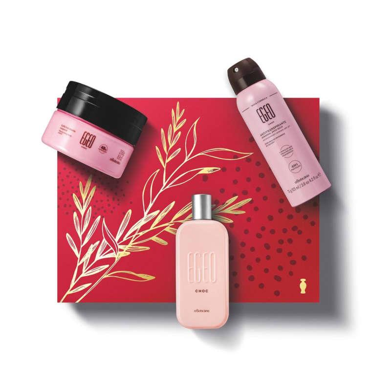 Kit Presente Egeo Choc: Desodorante Colônia 90ml + Antitranspirante 75g + Suflê Desodorante Hidratante Corporal 250g