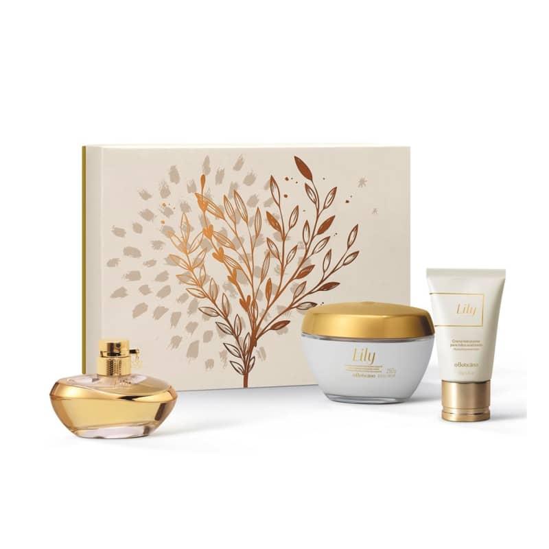 Kit Presente Lily: Eau de Parfum 75ml + Creme Acetinado Desodorante Hidratante 250g + Creme Acetinado para Mãos 50g