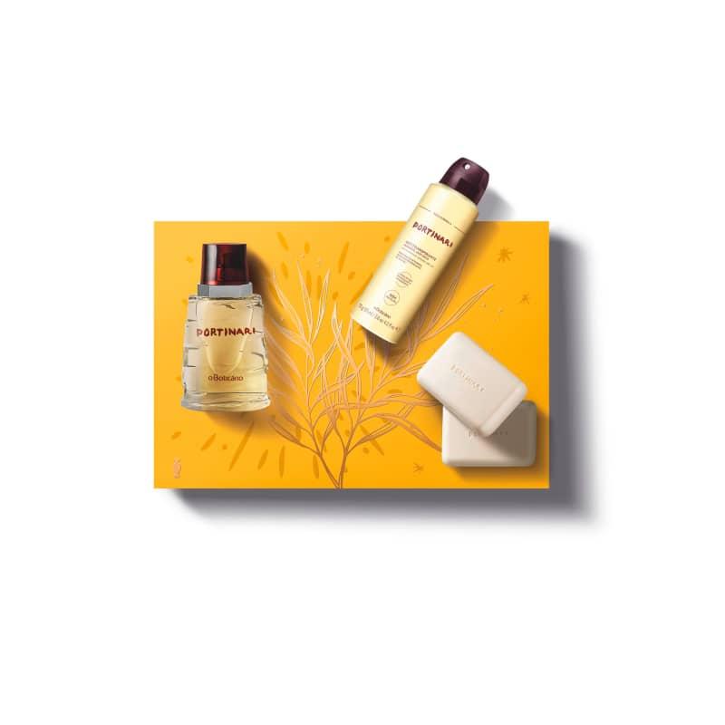 Kit Presente Portinari: Desodorante Colônia 100ml + Antitranspirante Desodorante Aerossol 75g + 2 Sabonetes Perfumados 125g cada