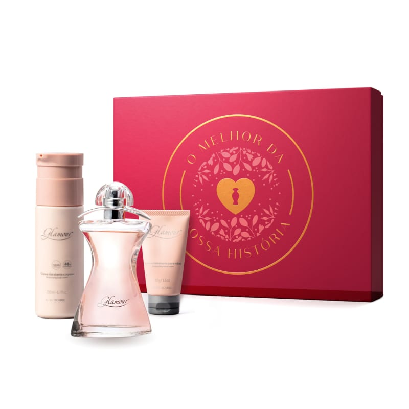 Kit Presente Glamour: Desodorante Colônia 75ml + Creme Corporal 200ml + Creme de Mãos 50g