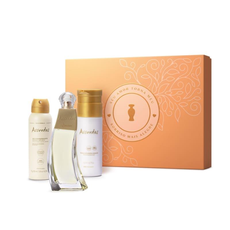 Conjunto Accordes o Boticário Feminino - Desodorante Colônia 80ml + Creme Hidratante 200ml + Desodorante Antitranspirante 75g