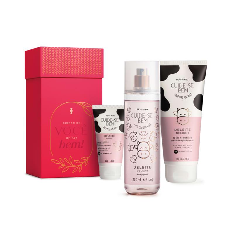 Kit Presente Cuide-se Bem Deleite: Loção Hidratante Desodorante Corporal 200ml + Body Splash 200ml + Creme de Mãos 50g