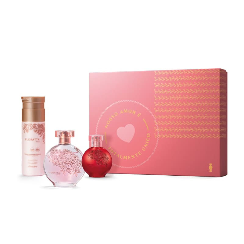 Kit Presente Floratta: Rose Desodorante Colônia 75ml + Loção Hidratante 200ml + Red Desodorante Colônia 30ml