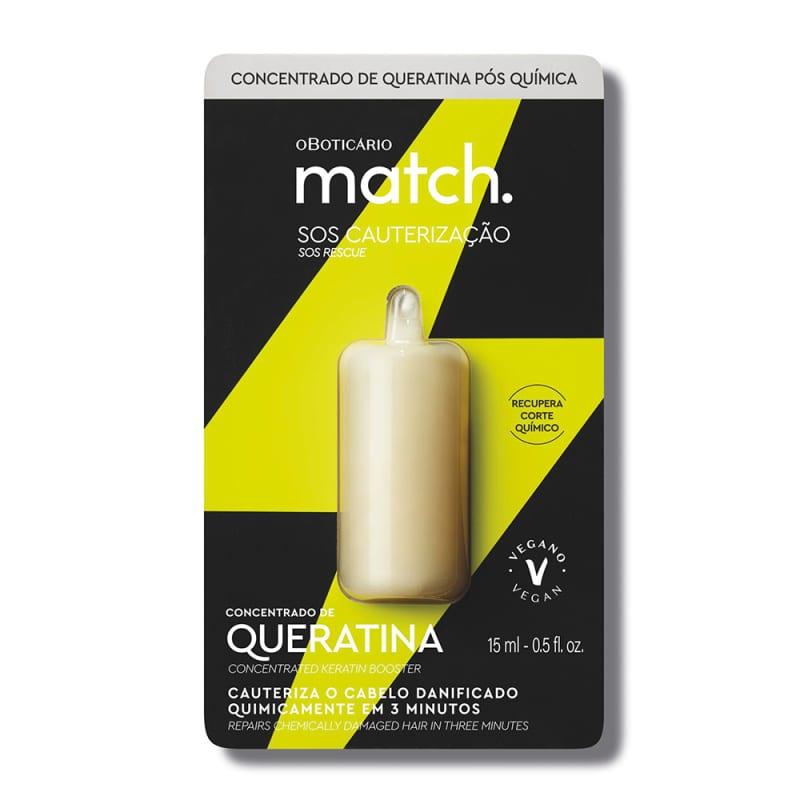 o Boticário Match SOS Cauterização Concentrado de Queratina - Sérum Capilar Pós-Química 15ml