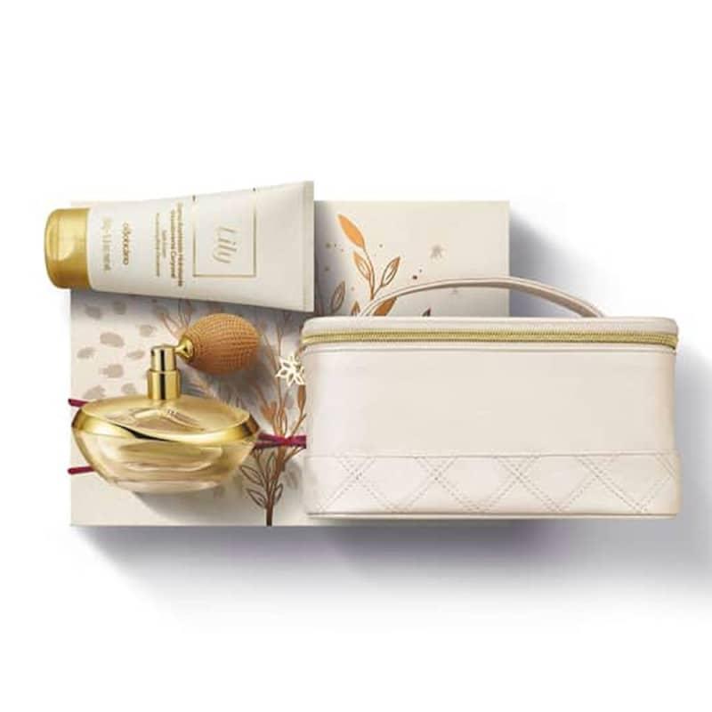 Kit Presente Lily: Eau de Parfum 75ml + Creme Acetinado Hidratante 150g + Frasqueira