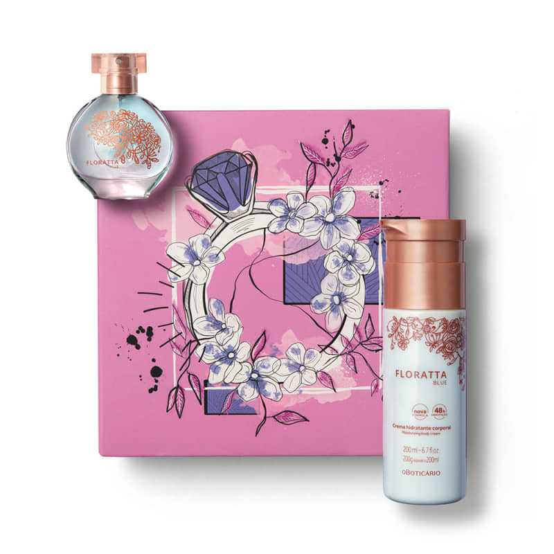 Kit Presente Floratta Blue: Desodorante Colônia 30ml + Creme Corporal 200ml + Caixa de Presente