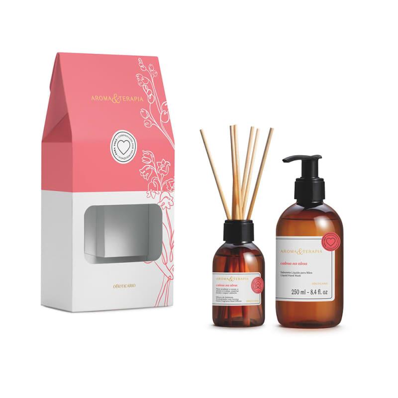 Kit Presente Aroma & Terapia Calma na Alma: Difusor de Ambiente Aromatizador com Varetas 100ml + Sabonete Líquido para Mãos 250ml